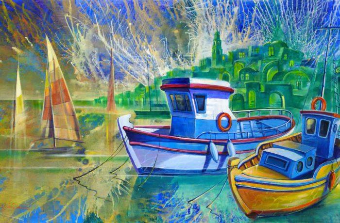 Original Oil Painting: Morning in Old Jaffa Port