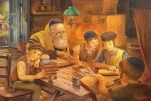Cheder at the Shtetl kids reading torah