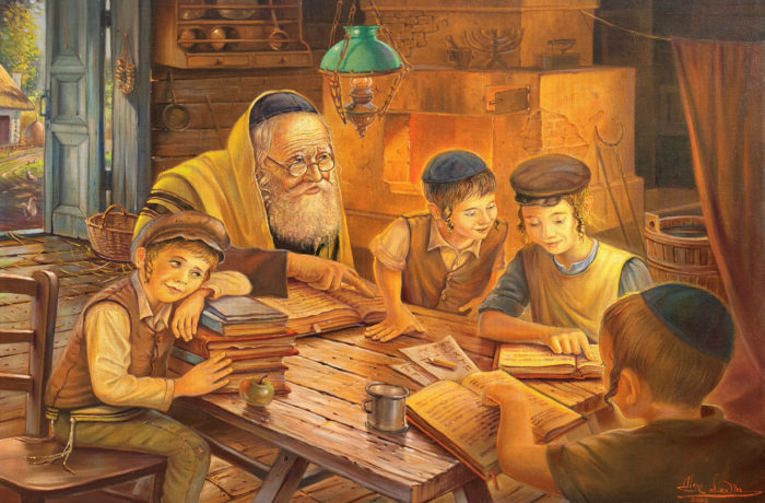 Original Oil Painting: Morning in the Cheder at the old Shtetl