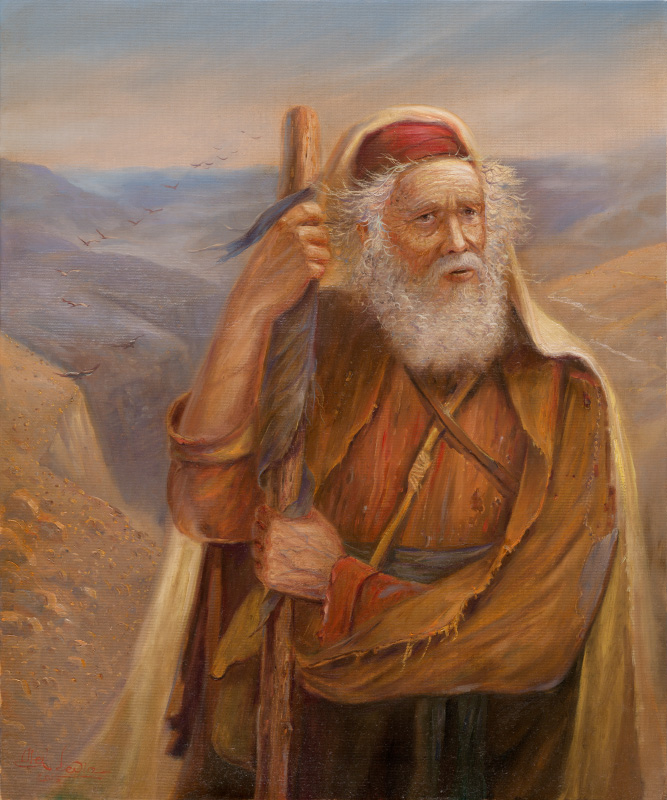 Moses at the Promised Land, Painting by Alex Levin
