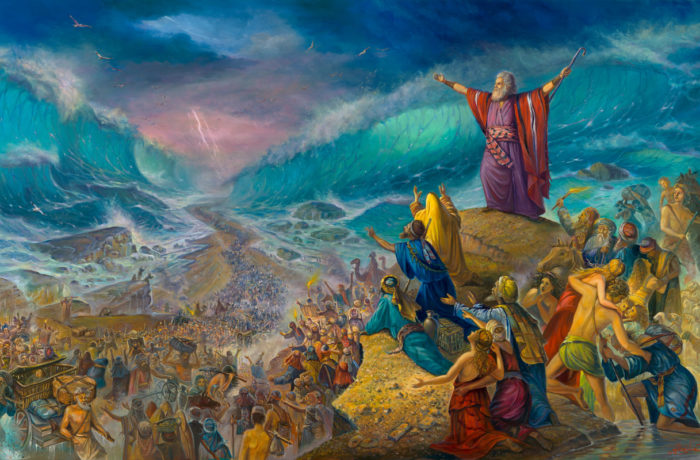 Original Oil Painting: Moses crossing the sea