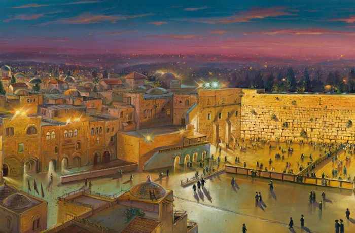 Original Oil Painting: Old City at Night