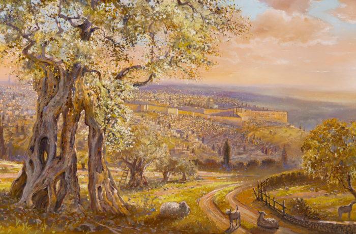 Painting: Old Jerusalem behind the olive tree