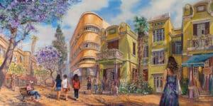 On Tel Aviv's Nahalat Binyamin street, Painting by Alex Levin