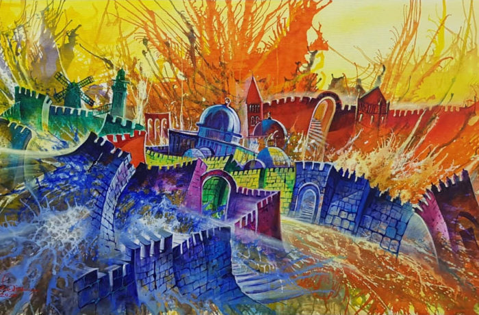 Original Oil Painting: One City of Three Faiths – Jerusalem a sacred city for three religions