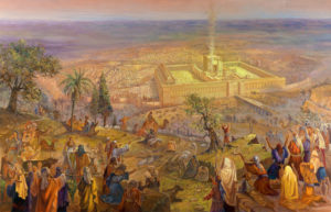 Pilgrimage to the second Jerusalem Temple, Painting by Alex Levin