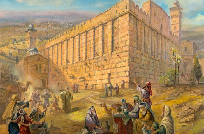 Original Oil Painting: Pilgrims by the Cave of Machpelah (Tomb of the Patriarchs)
