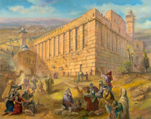 Pilgrims by the Cave of Machpelah Tomb of the Patriarchs, Painting by Alex Levin