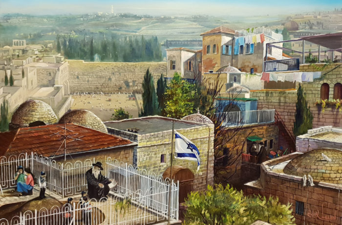 Original Oil Painting: Playing on the roof at the old city
