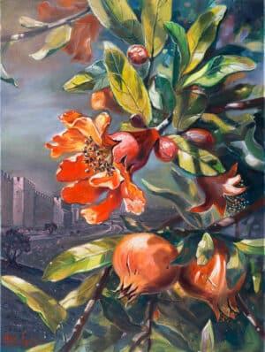 Pomegranate tree in Jerusalem, Painting by Alex Levin