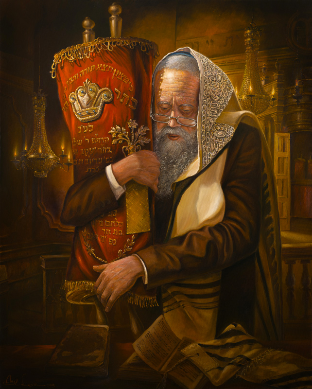 Original Oil Painting: Praying with Torah