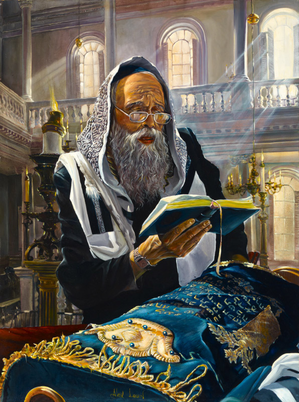 Original Oil Painting: Praying with Torah