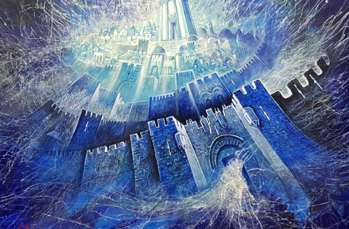 Original Oil Painting: Projecting the astonishing energy of Jerusalem