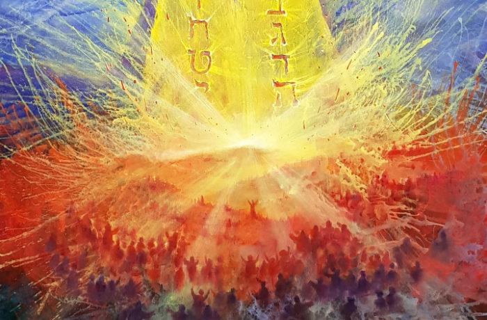 Original Oil Painting: Receiving the Torah on the mount Sinai