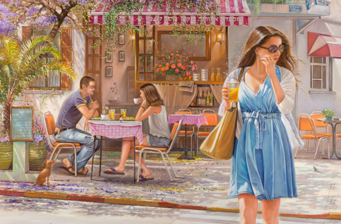 Painting: Romantic cafe on Shenkin Street