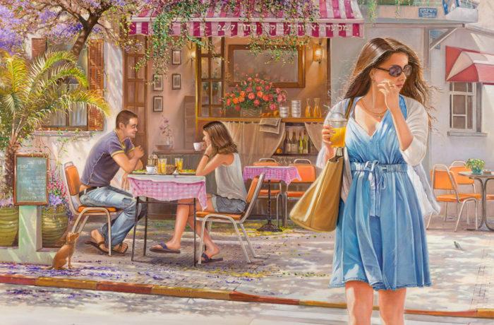 Original Oil Painting: Romantic cafe on Shenkin Street