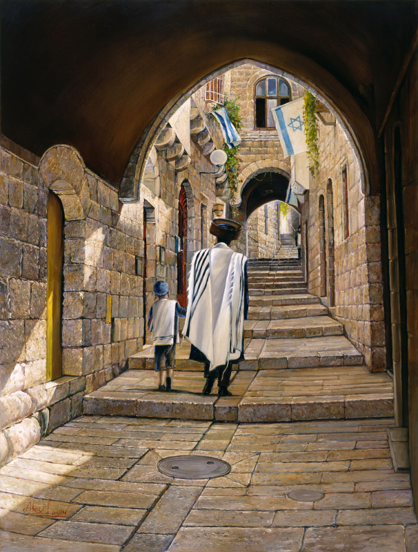 Painting: Sabbath at the Jewish Quarter in Jerusalem