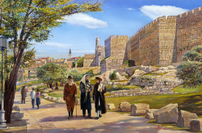 Original Oil Painting: Sabbath walk by the David's Tower