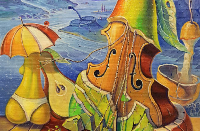 Original Oil Painting: Secrets of musical pears