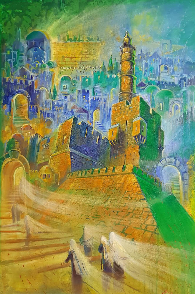 Original Oil Painting: Shabbat in Jerusalem