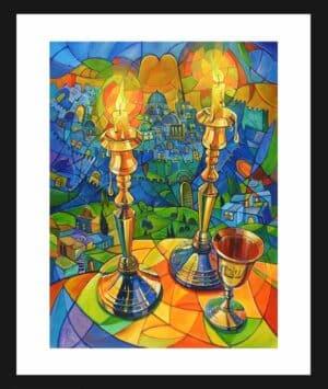 Shabbat candles painting
