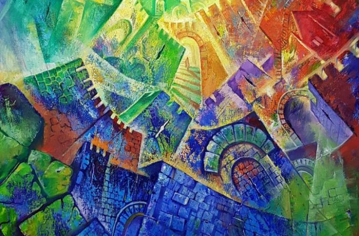 Original Oil Painting: Shema Yisrael throughout Jerusalem