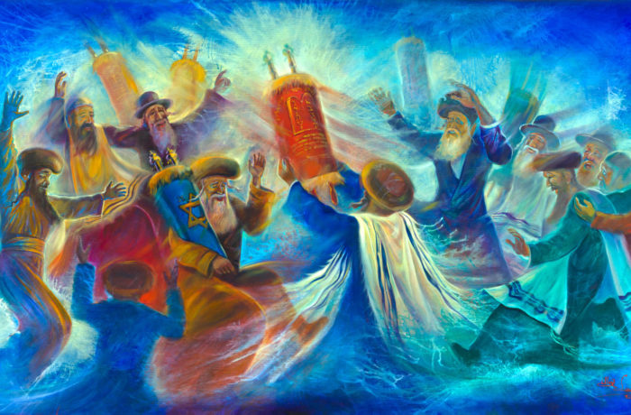 Original Oil Painting: Simchat Torah Celebration