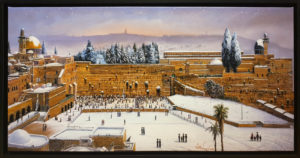 Snow by the wailing wall