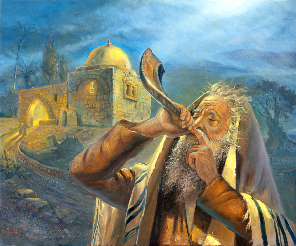Sounds of Shofar at Kever Rachel, Painting by Alex Levin