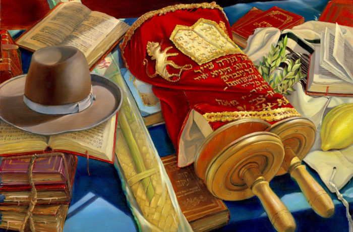 Original Oil Painting: Still life with the hat and Torah