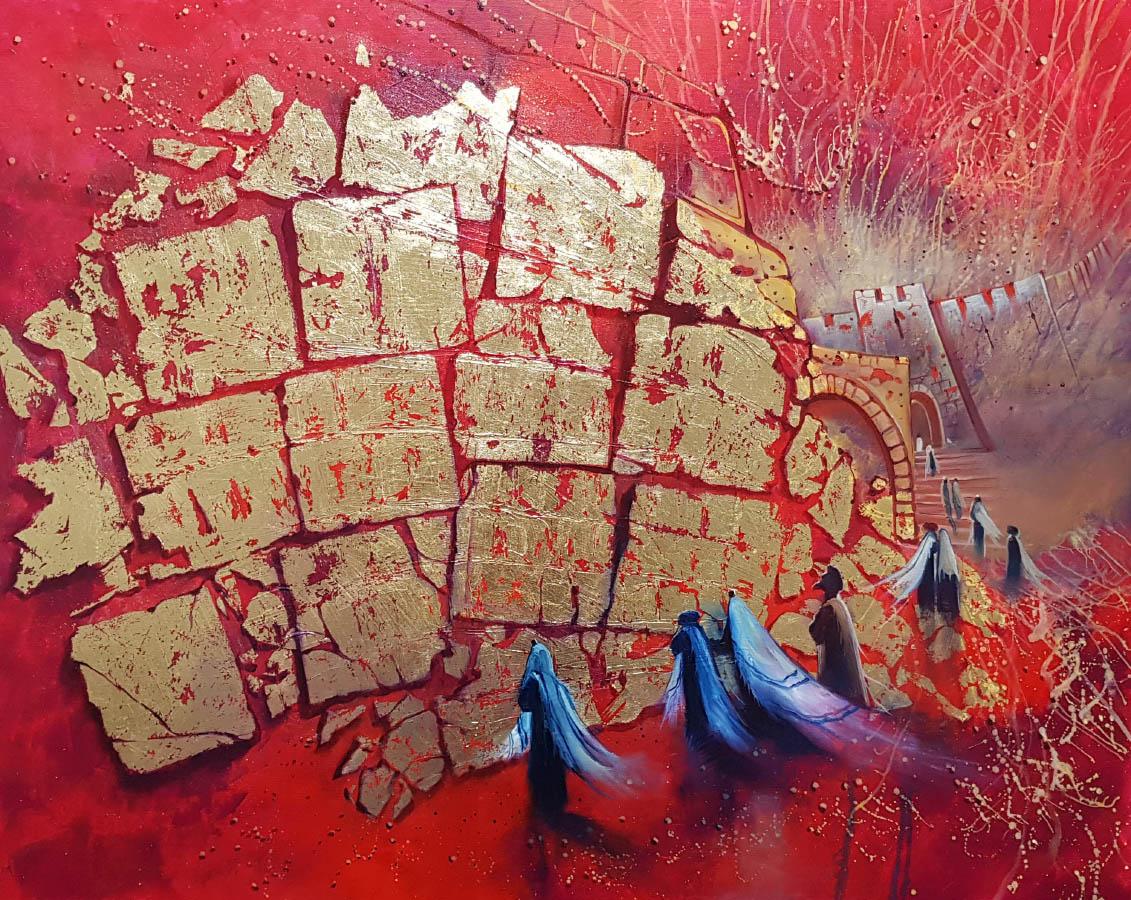 abstract jerusalem painting kotel