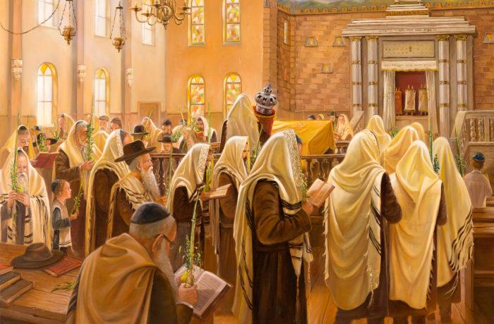 Painting: Sukkot in Kfar Chabad Synagogue