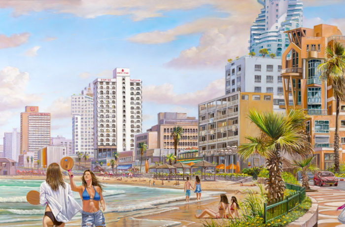 Original Oil Painting: Sunny beach of Tel Aviv