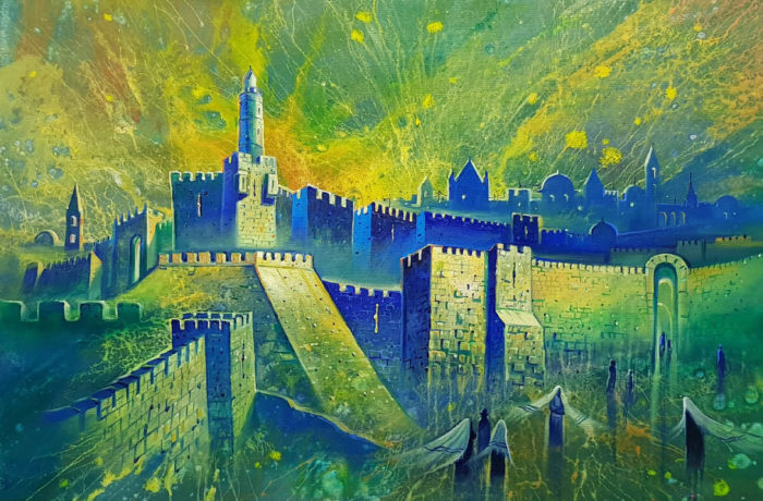 Original Oil Painting: Sunrise in Jerusalem the City of David