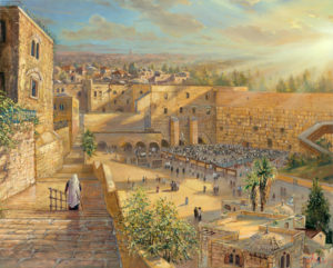 Sunrise behind the Kotel Painting