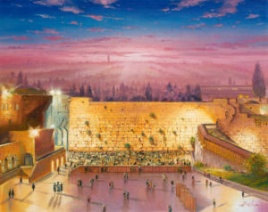 Sunrise by the Kotel, Painting by Alex Levin