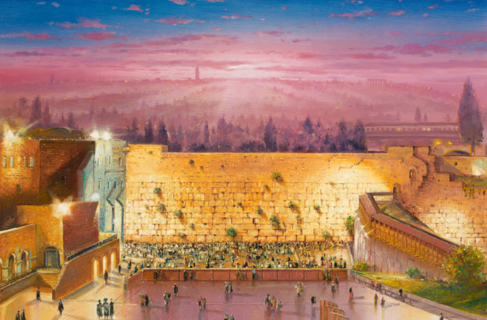 Original Oil Painting: Sunrise above the Kotel