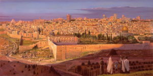 olive mountain jerusalem painting