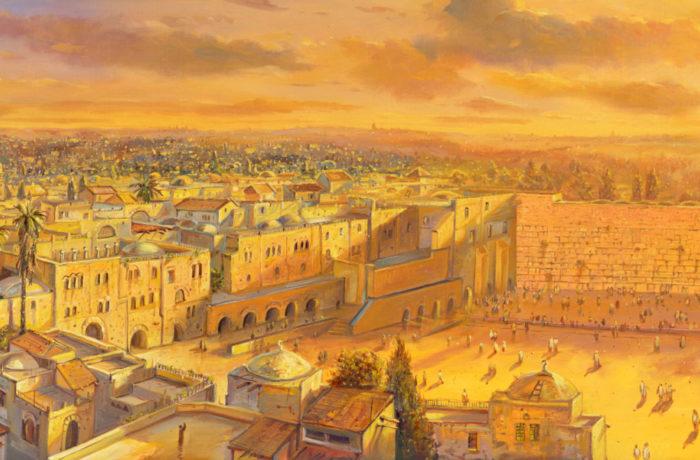 Original Oil Painting: Sunrise in Holy Jerusalem