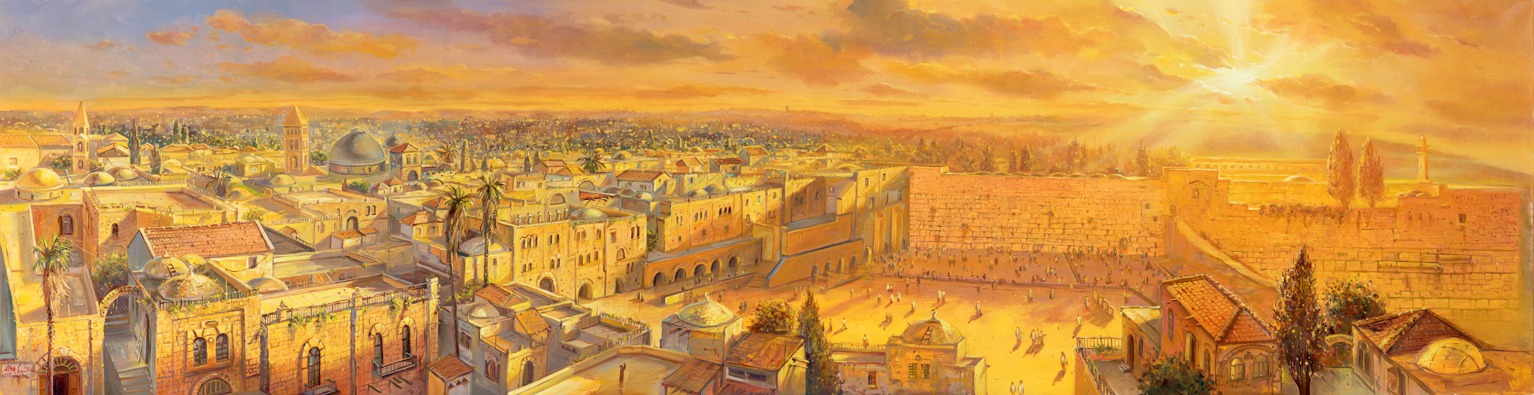Sunrise in Holy Jerusalem, Painting by Alex Levin