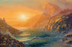 Swim with Lord Byron in the Bay of Poets, Painting by Alex Levin