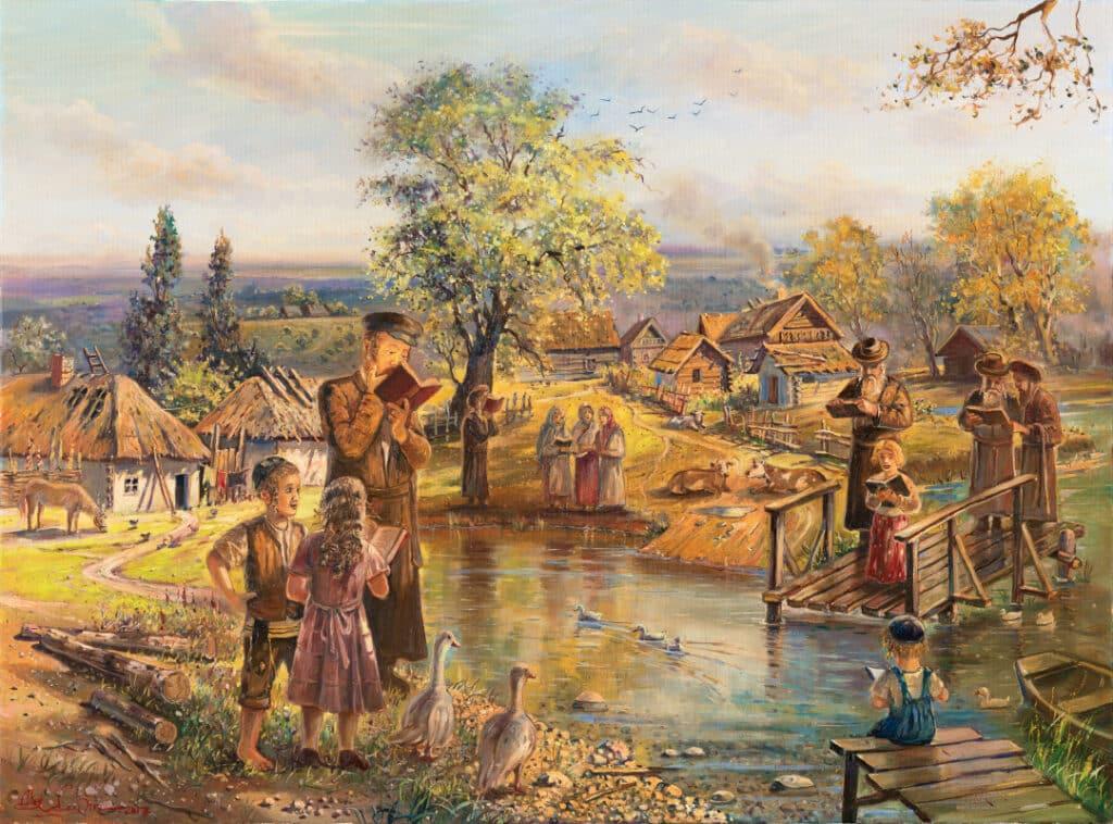 Jewish Painting of shtetl