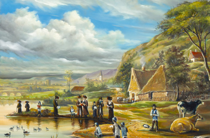 Original Oil Painting: Tashlich in Shtetl