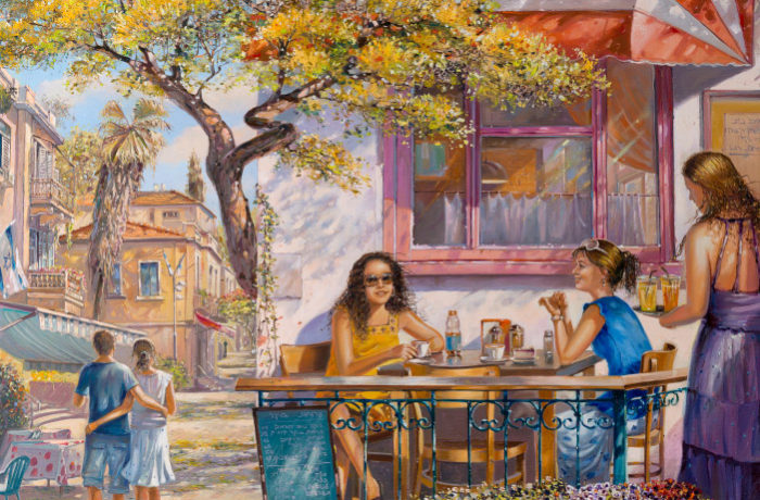 Original Oil Painting: Breakfast in Tel Aviv's Cafe