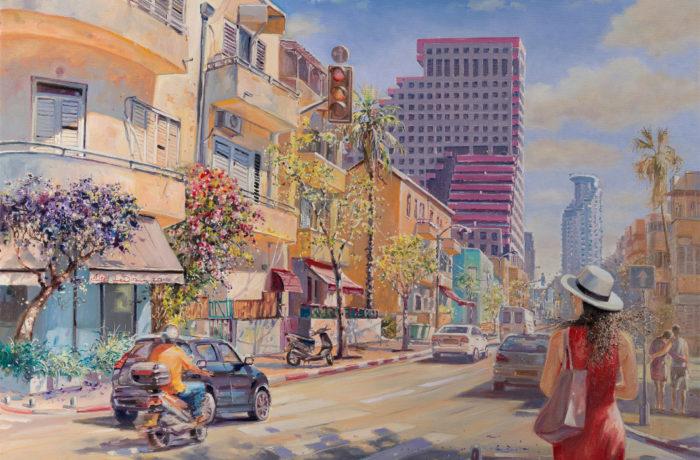 Original Oil Painting: Tel Aviv always loves peace