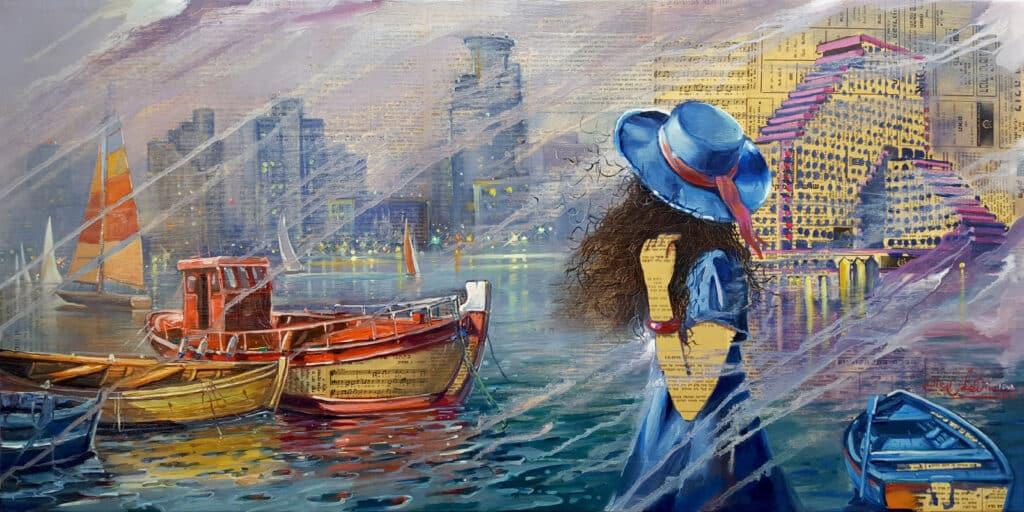 tel aviv painting on newspaper