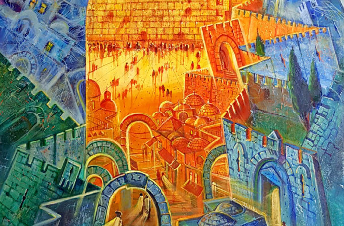 Original Oil Painting: The Heavenly Jerusalem and the Earthly Jerusalem