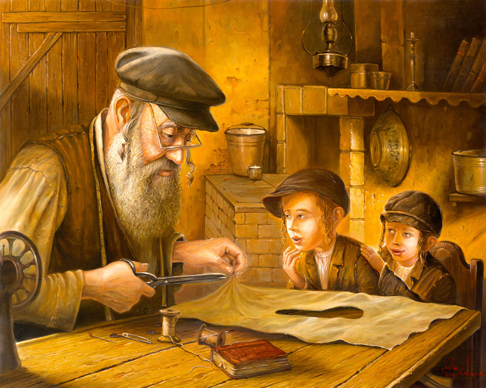 Jewish Painting of man and kids