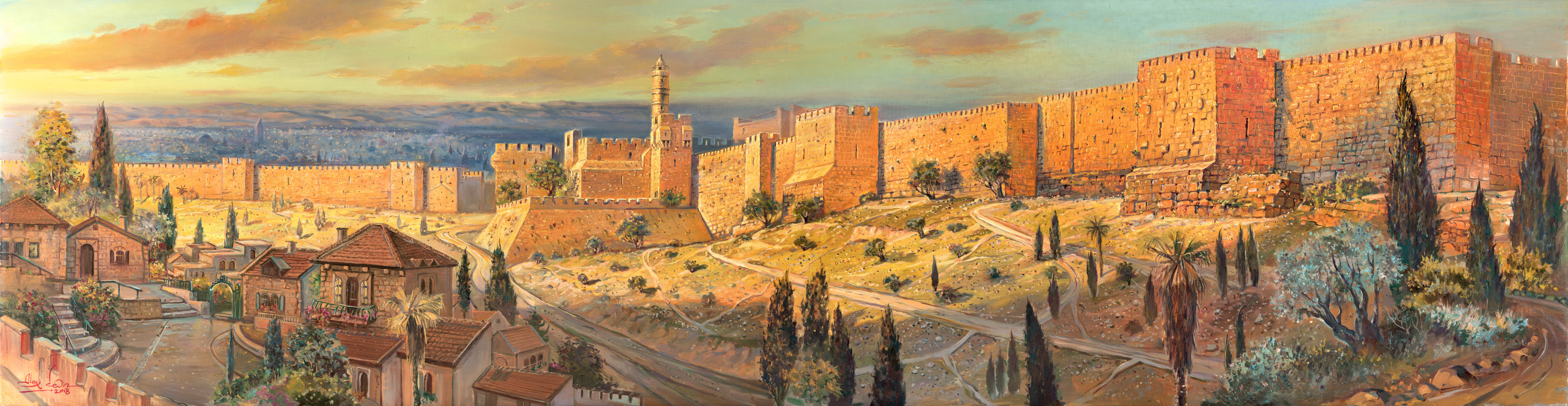 The Walls of Jerusalem, Painting by Alex Levin