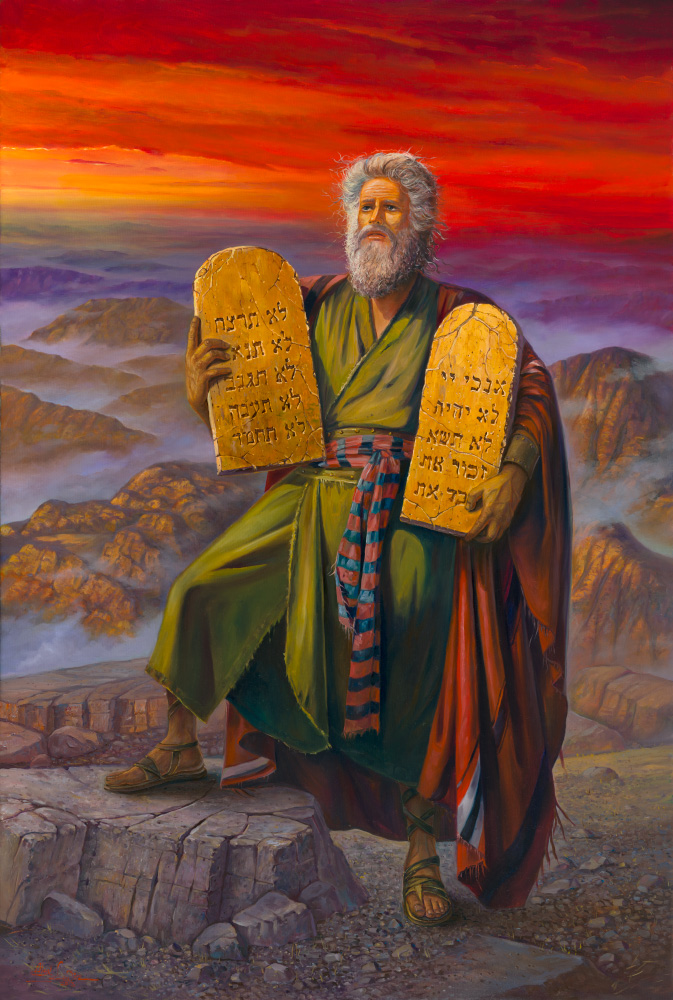 Painting: The commandments given to Moses at Mount Sinai
